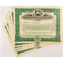 Pittsburgh & Mt. Shasta Corporation Stock Certificates (7)