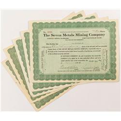 Seven Metals Mining Company Stock Certificates (4)