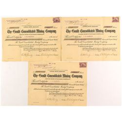 Three Gould Consolidated Mining Co. Stock Certificates