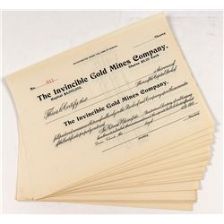 Invincible Gold Mines Stock Certificates (25)