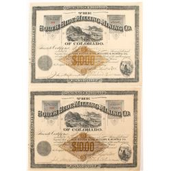 Two South Side Milling and Mining Co. Stock  Certificates (Leadville)