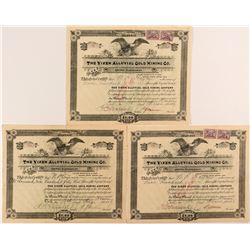 Vixen Alluvial Gold Mining Co. Stock Certificate Trio
