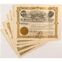 Washington Gold Mining and Milling Company Stock Certificates (6)