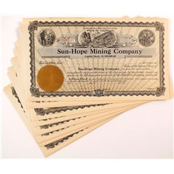 Sun-Hope Mining Company Stock Certificates (18)