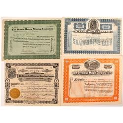 Four Different Colorado Mining Stock Certificates