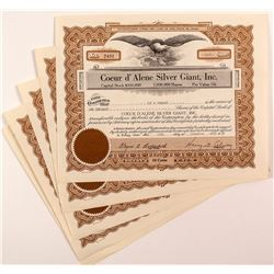 Coeur d'Alene Silver Giant, Inc. Stock Certificates (5)