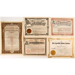 Five Western Mining Stock Certificates