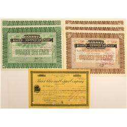 6 Parrot Silver and Copper Company Stock Certificates