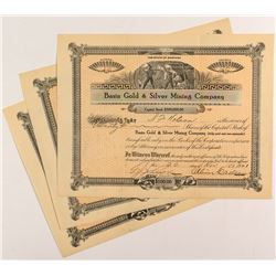 3 Basin Gold & Silver Mining Company Certificates