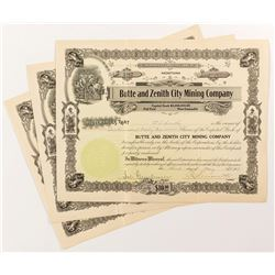 Butte and Zenith City Mining Company Stock Certificates (3)
