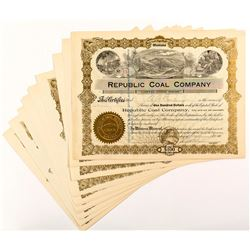 Republic Coal Company Stock Certificates (12)