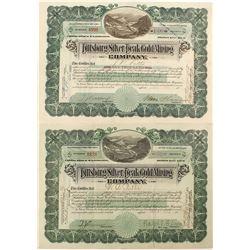 Pittsburg Silver Peak Gold Mining Stock Certificates