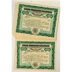 29 General Washington Development Company Stock Certificates