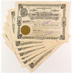 January Jones Leasing and Development Stock Certificates (10) signed by Jones