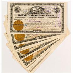 Nine Goldfield Mining Stock Certificates