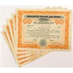 Reorganized Cracker Jack Mining Stock Certificates (5)