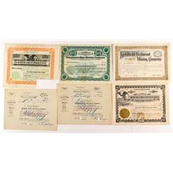 Six Various Goldfield Mining Stock Certificates