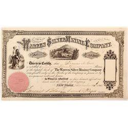 Warren Silver Mining Company Stock Certificate (1865) (La Plata, Nevada Ghost Town)