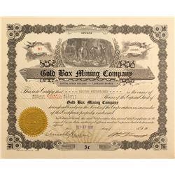 Gold Box Mining Company Stock Certificate