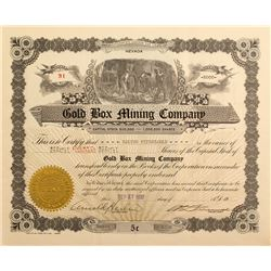 Gold Box Mining Company Stock Certificate