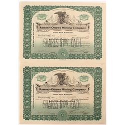 Two Ramsey-Ottowa Mining Company Stock Certificates