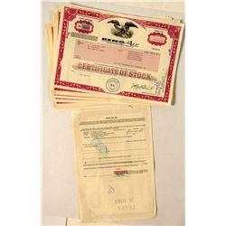 23 Reno Air Stock Certificates