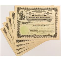 Montezuma Silver Mines Corporation Stock Certificates (5)
