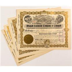 Mizpah Extension Company of Tonopah Stock Certificates (5)
