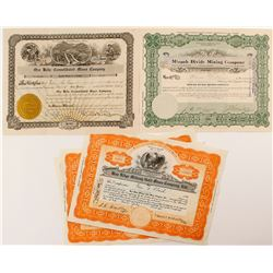 Five Nevada Mining Stock Certificates