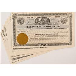 Simon South Silver Mines Company Stock Certificates (10)