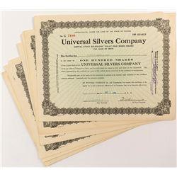 Universal Silvers Company Stock Certificates (8)