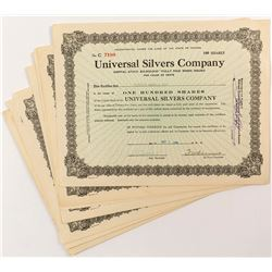 Universal Silvers Company Stock Certificates (8)