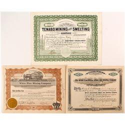 3 Different Nevada Mining Stock Certificates
