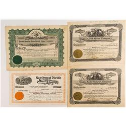 Four Nevada Mining Stock Certificates