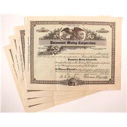 Paramount Mining Corporation Stock Certificates (4)