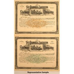 The Columbus Southern Railway Co Stock Certificates (25)