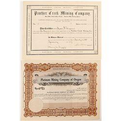Platinum Mining Company of Oregon & Panther Creek Mining Company Stock Certificates