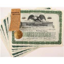 Virgin Copper Company Stock Certificates (9)