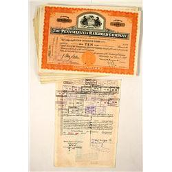 60 Pennsylvania Railroad Company Stock Certificates