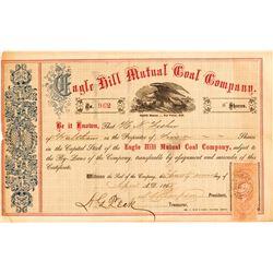 Eagle Hill Mutual Coal Company Stock Certificate (1865)