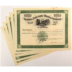Victoria Extension Mining Company Stock Certificates (5)