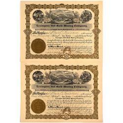 Pair of Lexington Hill Gold Mining Company Stock Certificates