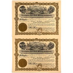 Pair of Lexington Hill Gold Mining Company Stock Certificates