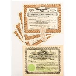Six Utah Mining Stock Certificates