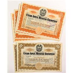 Utah-Apex Mining Company Stock Certificates (8)