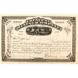 Crescent Mining Company of Leadville, Colorado Stock Certificate (JP Whitney Sig.)