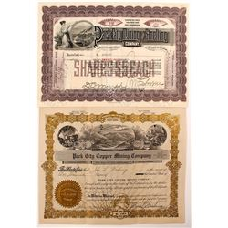 """Park City"" Mining Stock Certificates"