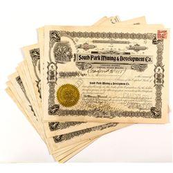 South Park Mining & Development Co. Stock Certificates (12)