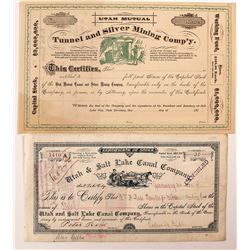 Two Different Utah Mining Stock Certificates