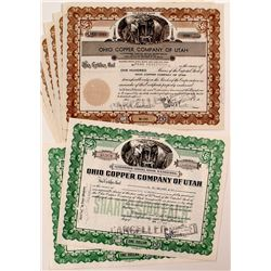 Ohio Copper Company of Utah Stock Certificates (8)